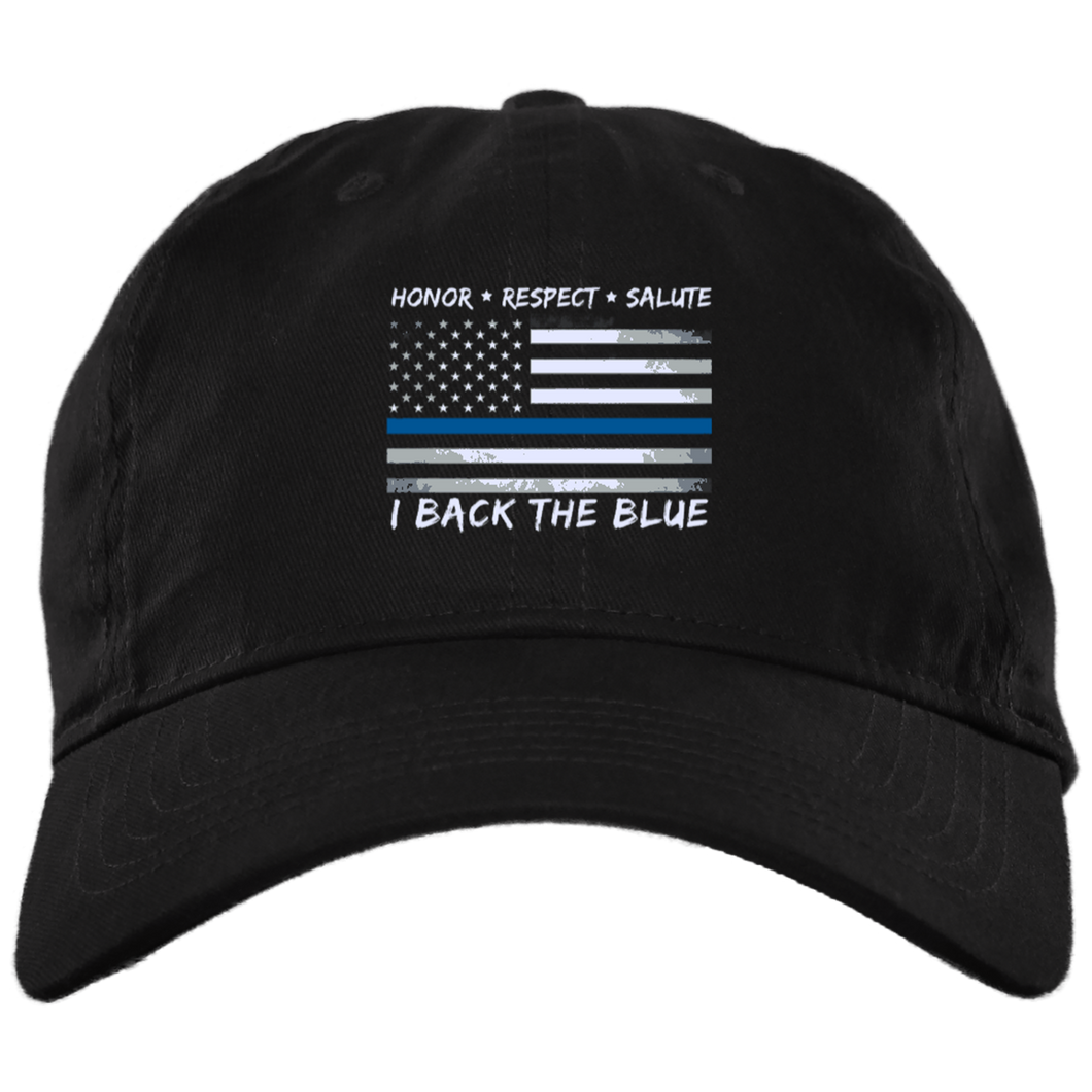 Back the Blue Hat - Thin Blue Line Flag Cotton Hat -Made in USA - Patriotic Source