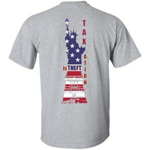 Taxation is Theft Libertarian LIberty Statue Cotton T-Shirt - Patriotic Source