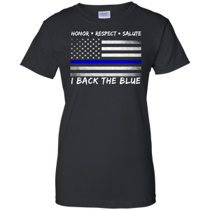 Women Back the Blue T-Shirt - Featuring Blue Line Flag - Patriotic Source