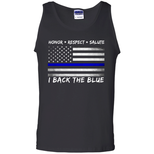 I Back the Blue Cotton Tank Top - With Blue Line Flag - Patriotic Source