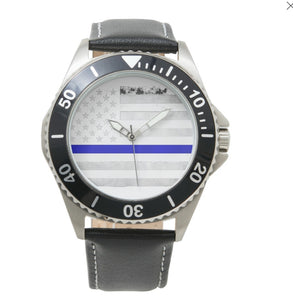 Thin Blue Line Mens Wrist Watch Stainless Steel - Patriotic Source