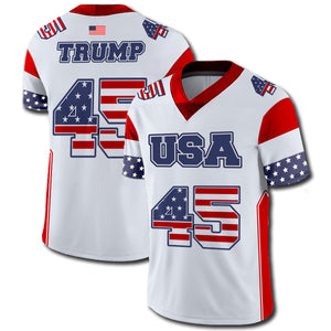 White Football Trump 45 Jersey USA Flag Colors - Made in USA - Patriotic Source