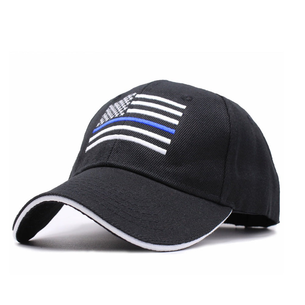 Thin Blue Line Snapback Hat - Embroidered Thin Blue Line Flag - Patriotic Source