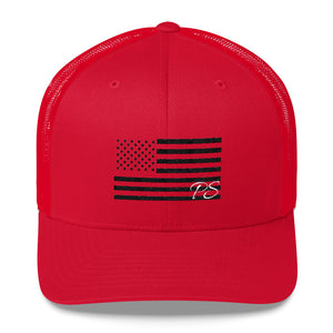 Black USA Flag Embroidered -Snap Back Hat - in 7 Colors Made in USA - Patriotic Source
