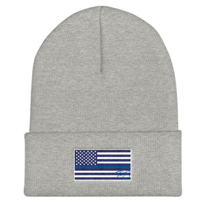 Back the Blue Hat- Thin Blue Line Flag Beanie - Made in USA - Patriotic Source