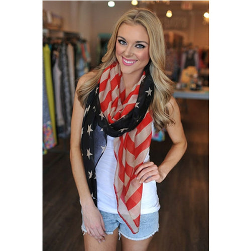 American Flag Scarf - Patriotic Scarf Shawl for all Seasons - Patriotic Source