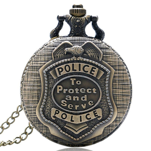 Police Pocket Watch Vintage Style - To Protect and Serve - Patriotic Source