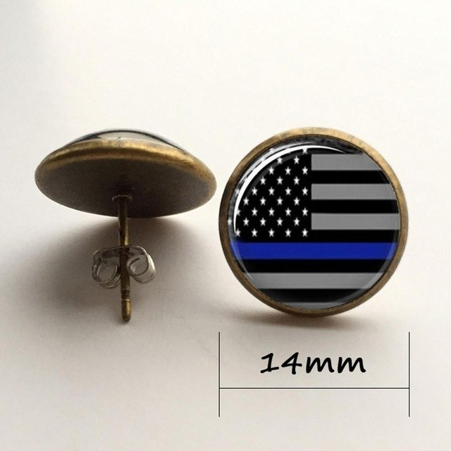 Thin Blue Line Flag Glass Earrings Featuring the Blue Line Flag - Patriotic Source