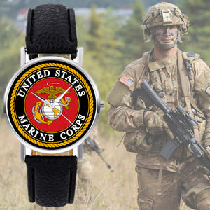 United States Marine Corps- USMC Quartz Watch with Black Leather Band - Patriotic Source