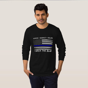 Thin Blue Line Long Sleeve Cotton T-Shirt for Men and Women - Patriotic Source
