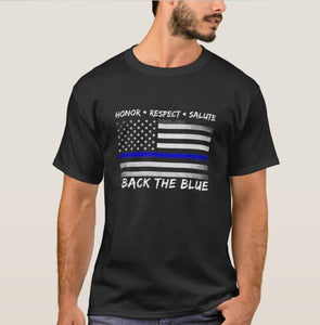 I Back The Blue T-Shirt - Thin Blue Line Police Flag T-Shirt - Patriotic Source
