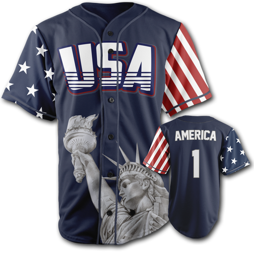 BLUE NAVY America Baseball Jersey Number ONE - Patriotic Source