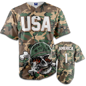 Camo USA Baseball Jersey - Born to Kill - Patriotic Source