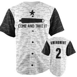 Come and Take it Baseball Jersey in Grey and Black - Patriotic Source
