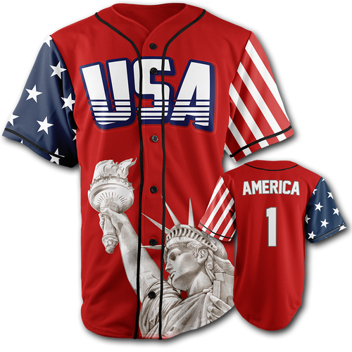 RED Baseball Jersey USA Number ONE - Patriotic Source
