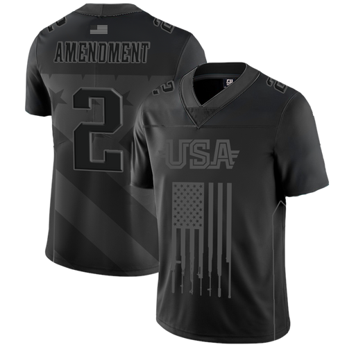 2nd Amendment BLACK Football Jersey - No Gun Control - Patriotic Source