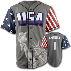 GREY Baseball Jersey USA America Number ONE - Patriotic Source