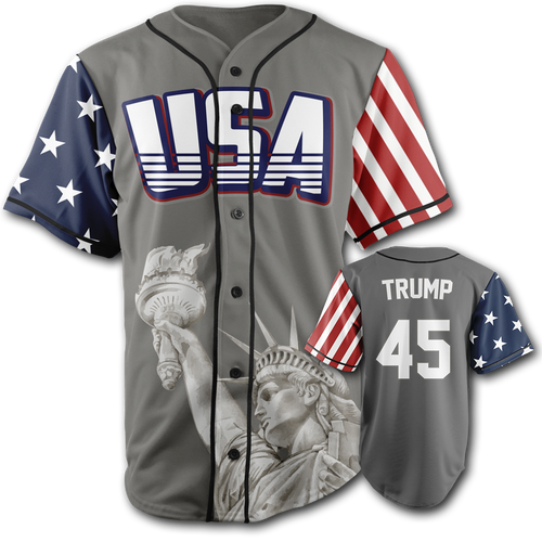 GREY Trump Baseball Jersey Number 45 - Patriotic Source