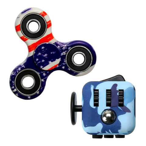 Tri Spinner Camouflage Gyro toys Fidget Hand Spinner Spiner Hand Finger For EDC ADHD Autism Hand Spinner +Magic Fidget Cube