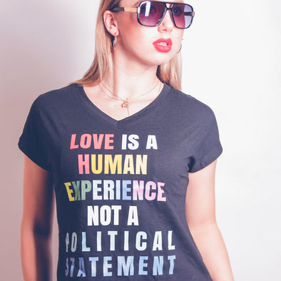 Women's V-Neck Tee - LOVE IS A