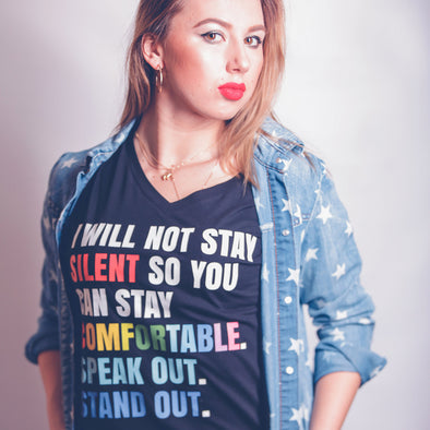 Women's V-Neck Tee - I WILL NOT