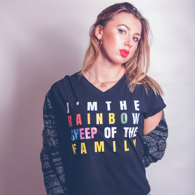 Women's V-Neck Tee - IM THE RAINBOW