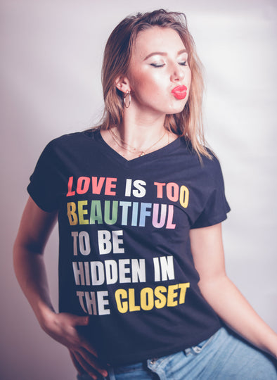 Women's V-Neck Tee -  LOVE IS TOO