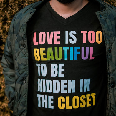 Unisex V-Neck Tee - LOVE IS TOO