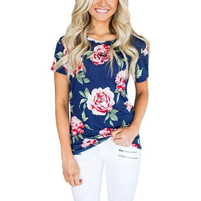 WOMEN'S FLORAL PRINTED BLUE ROUND NECK SHIRT