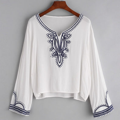 WOMEN'S FLORAL BLUE EMBROIDERY LONG SLEEVE BLOUSE
