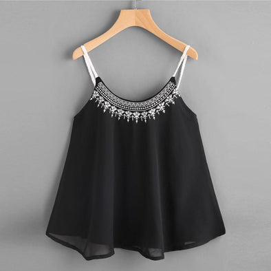 FLOWER EMBROIDERED BLACK CHIFFON CAMI TOP