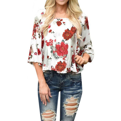 WOMEN'S RED FLOWER PRINTED SUMMER BLOUSE