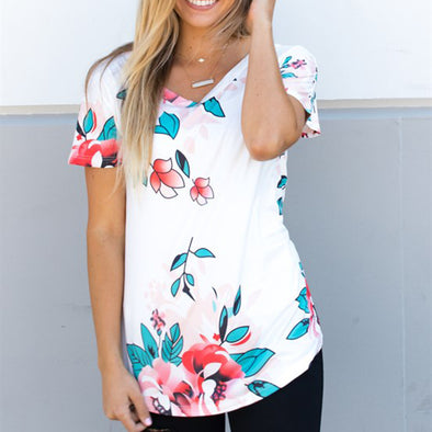 Cute and Simple Floral Women's Shirt