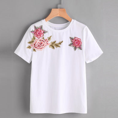 WOMEN'S SUMMER ROSE EMBROIDERED T-SHIRT