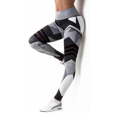Women's Printed Middle-Waisted Yoga Pants - Fitness leggings