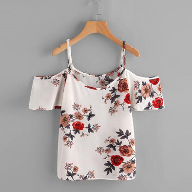 FLORAL PRINTED OFF SHOULDER SEXY BLOUSE