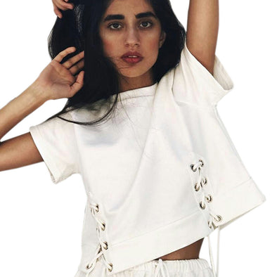 WOMEN'S WHITE HOLLOW OUT LOOSE CROP TOP