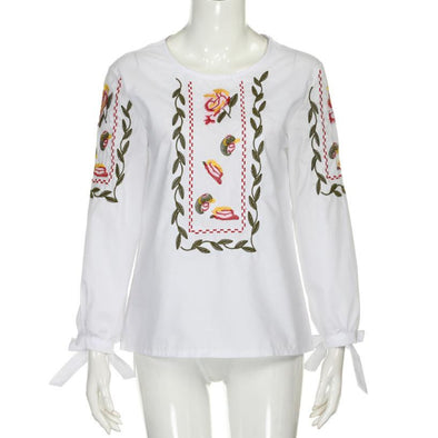 BOWKNOT FLORAL EMBROIDERY CASUAL BLOUSE