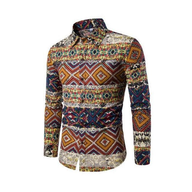 Men's Shirt Hawaiian Long Sleeves