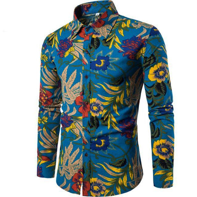 Hawaiian Long Sleeves Men Shirt