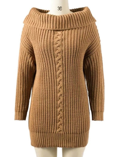 Plain Boat Neck Women's Sweater Dress