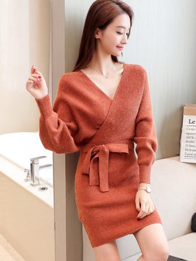 Batwing Sleeve Lace up Women's Sweater Dress