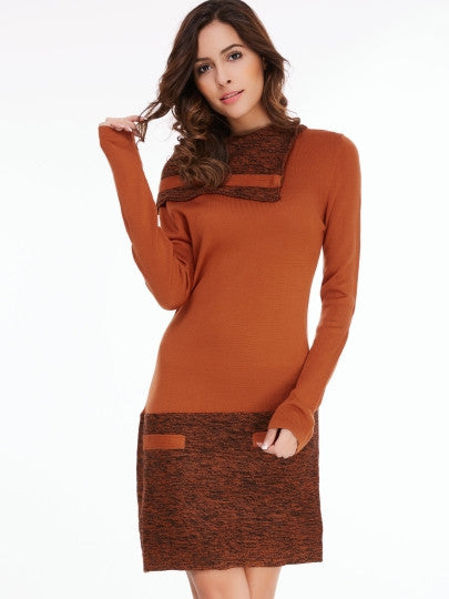 Knee-Length Long Sleeve Women's Sweater Dress