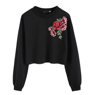 Women's Sweatshirt Crop Top with Embroidered Lovely Flower