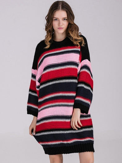 Striped Loose Long Sleeve Women's Sweater Dress