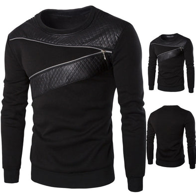 Men's Winter Warm Splicing Leather Sweatshirt