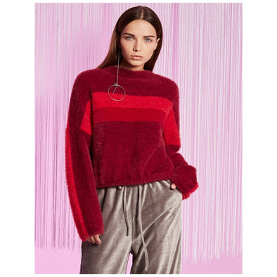 Burgundy Polyester Pullovers Sweater