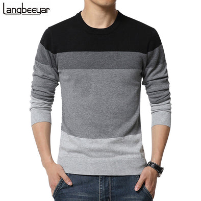 Men's O-Neck Striped Slim Fit Sweater