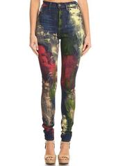 High Rise Multi Color Splatter Paint Jeans