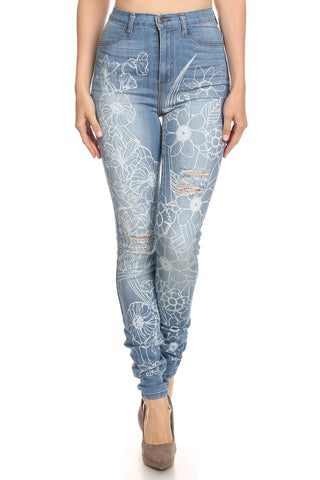 High Rise White Flower Stencil Skinny Jeans